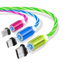 2.4A 3 in <strong>1</strong> Fast Magnetic Charging USB Cable Visible Flow LED Light for iPhone 6 7 8 <strong>X</strong> XS XR