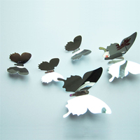 Acrylic mirror butterfly 3d sticker, clear decorative wall stickers