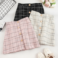 Autumn 2019 New Korean Style Coarse tweed Single-row Button Lattice Button Skirt Short Skirt with Slender A-shaped Skirt