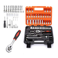 steel Auto Car Motorcycle Repair Tool Ratchet Wrench Sleeve Joint Hardware Kit Handy Man Tool Set of 53 pcs