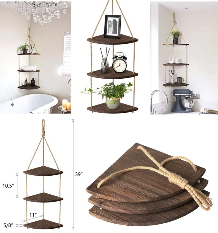 3 Tier Hanging Corner Shelf Jute Rope Wood Wall Floating Shelves Rustic Organizer Displays Storage Rack