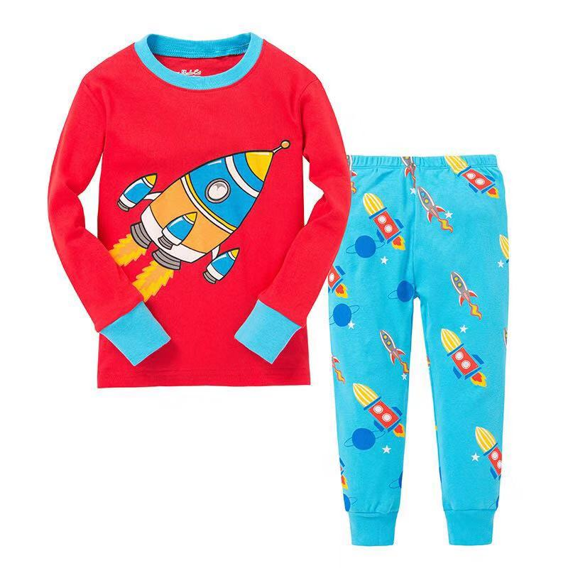 Cute Kids pajamas set with long sleeves and long pants animal cartoon printed clothing set