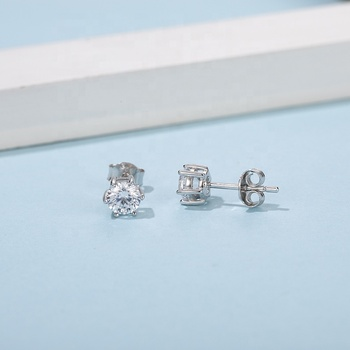 Abiding 6 Prong Round Stud Ear Ring Fashion 925 Sterling Silver Jewelry 5mm Moissanite Stud Earrings