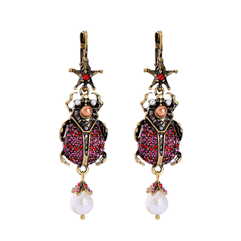 belly dance jewellery post 12mm enamel stud Antique Gold Beetle Crystal Earrings
