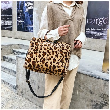 Christmas Winter Fashion Acrylic Round Handle Leopard Print Large Travel Tote Handbag