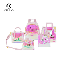 Fashion girl laser TPU Transparent Waterproof Toiletry Bag set pvc <strong>backpack</strong> set