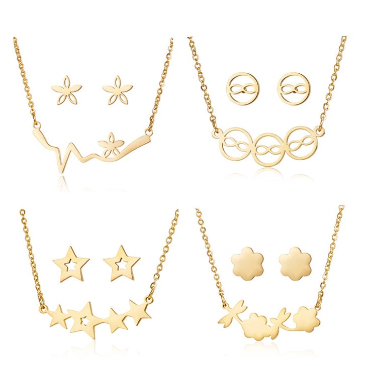 Manufactory Wholesale stainless steel jewelry <strong>set</strong> necklace crystal women 14k 18k gold plated jewelry <strong>set</strong>