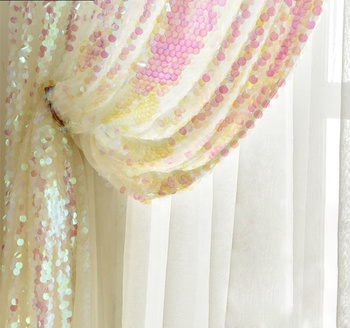 Customized high quality 100% polyester party wedding banquet glitter magic pink sequins backdrop curtains