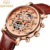KINYUED Popular Items Skeleton Moon Phase Dial Leather Strap Fitness Luminous Automatic Mechanical Wristwatches