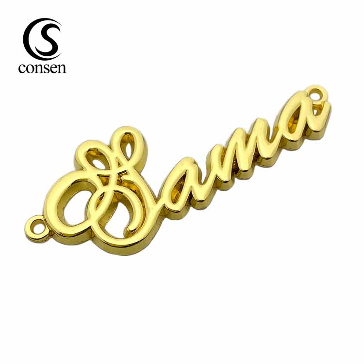 Plating 2 hole gold personalised brand name logo sewing label metal tag for garments