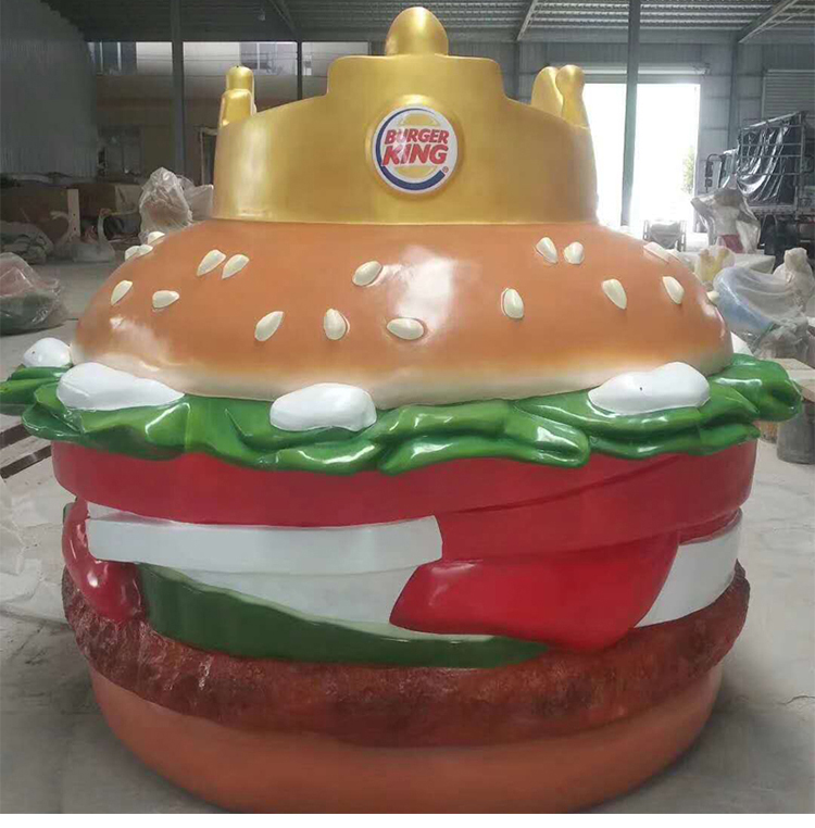 Very large food street 220cm* 180cm hamburger fiberglass statue
