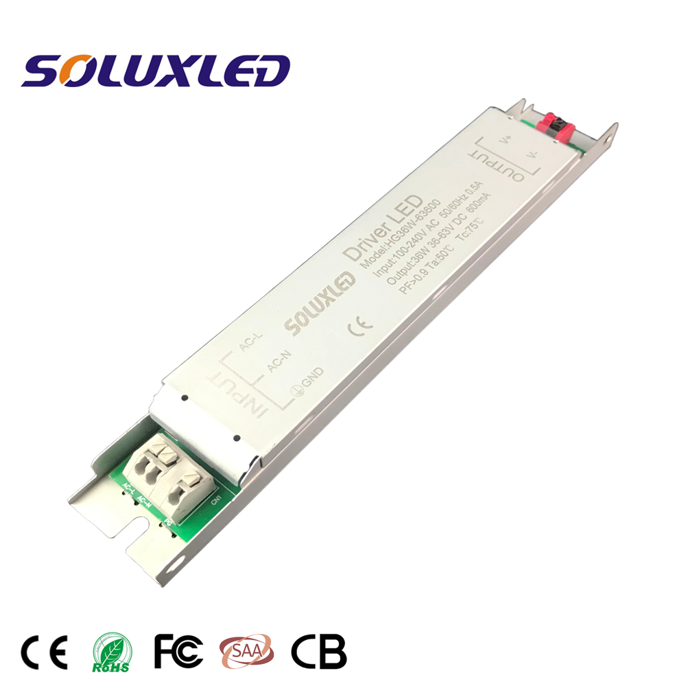 Slim LED driver psu for led linear light tube light 36W 50W 36V 84V 600ma IP20