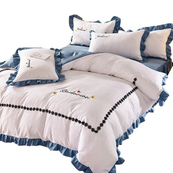 Luxury European Style Washed Silk Cotton Embroidery Bedding Set Duvet Cover Bed sheet/Linen Pillowcase