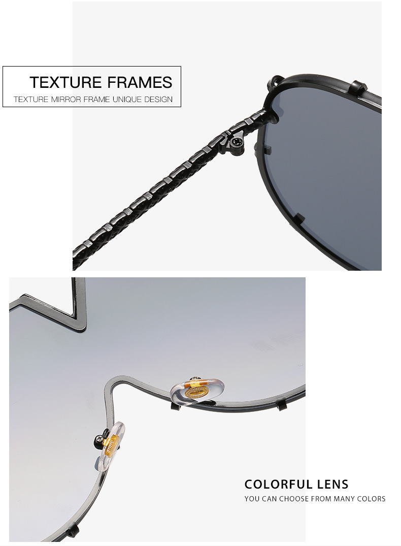 Luxury Vintage Unisex Men Women Metal Frame Mirror Shades UV400 Oversized Sunglasses