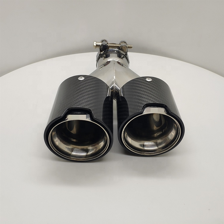 High performance auto parts carbon fiber dual outlet exhaust tips
