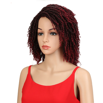 Braid synthetic wig front heat resistant bob braid curl short wavy black locs no lace with hair bangs long wig synthetic