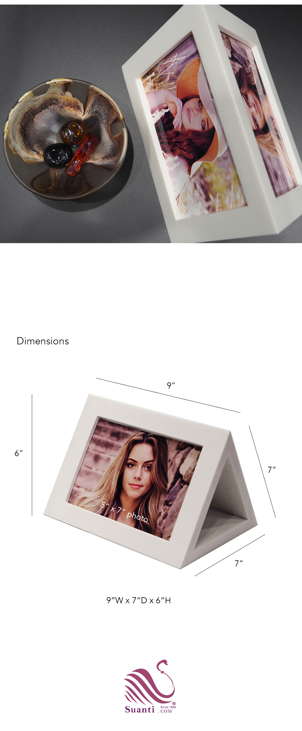 Suanti China wholesales triangle kids resin craft glitter small photo frames diy handmade desktop girl baby white picture frame