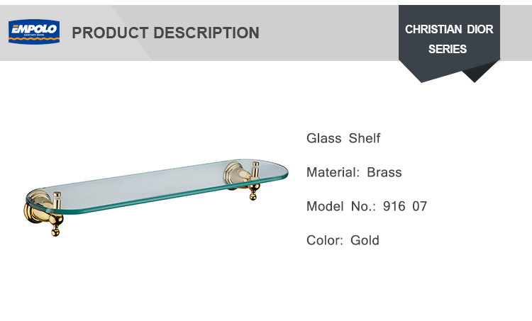 High Quality Bathroom Decorative Wall Glass Curved Shelf Floor Gold Color Shower Glass Shelf