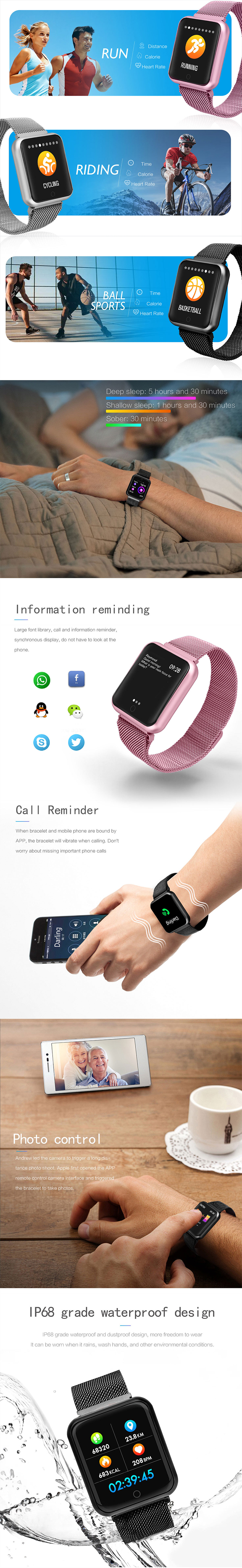 smart wristband IP68 waterproof meter step heart rate and blood pressure information push hands up bright screen call reminder