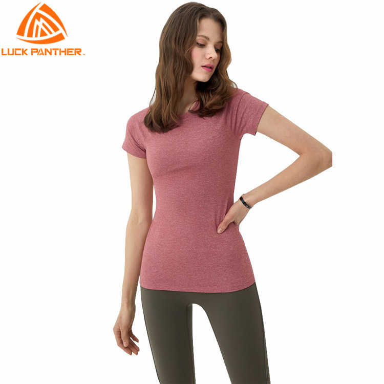 LuckPanther top quality gray fabric fitness yoga wear women t shirts short sleeves