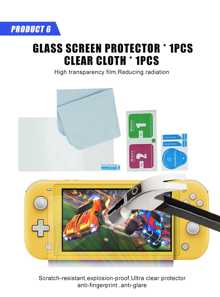 10 IN 1 protective kit with Glass screen protector and console carry case for N-switch lite Set