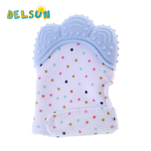 Cute Unisex Silicone Baby Massage Teether Hand Mitten Teething Pacifier Mitt Noise Making Toys for 3-18 months Infant Babies
