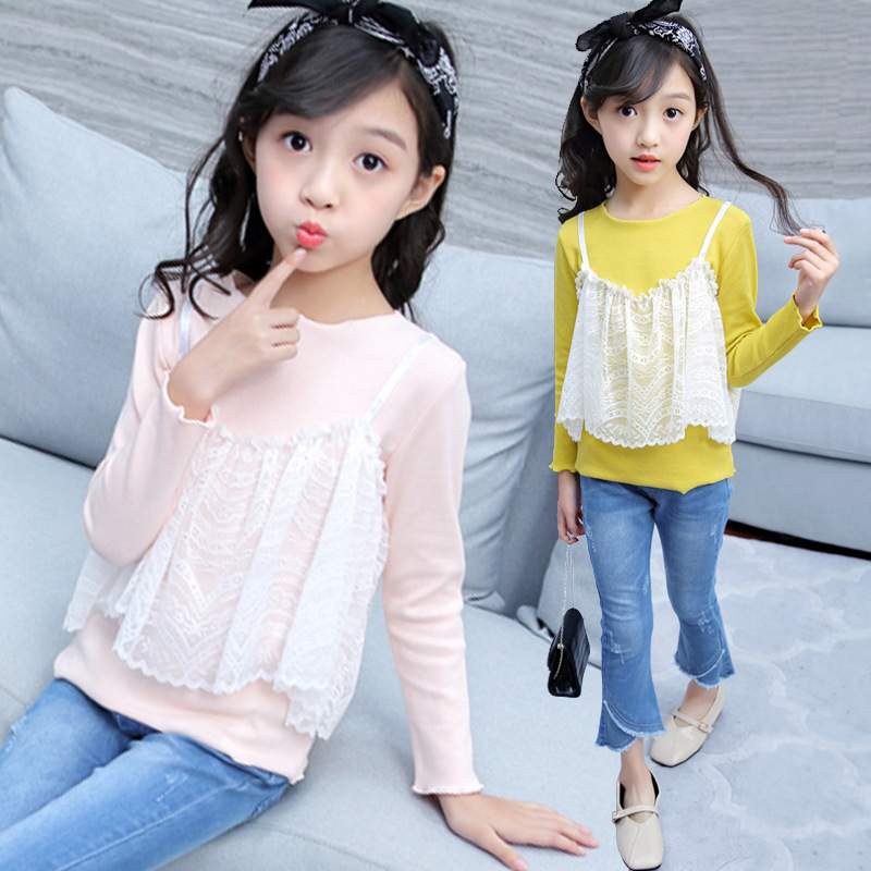 Clothes Set For Girls 2019 Autumn Winter Falll Girls Outfits Boutique Toddler Clothing Shirt + Jeans 6 8 9 <strong>10</strong> 11 <strong>Y</strong> Yellow Pink