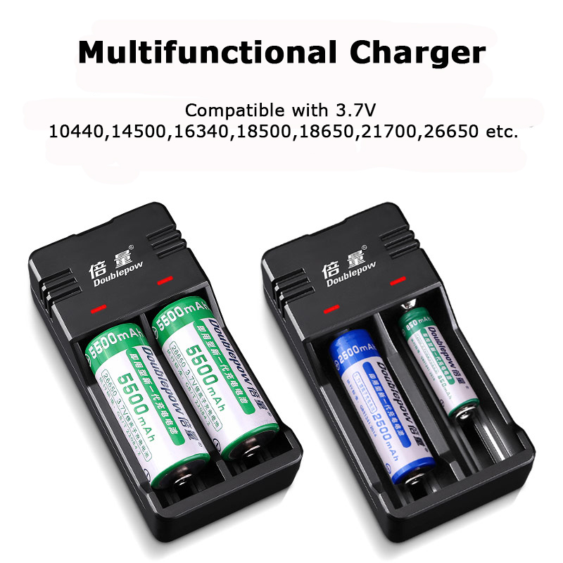 Custom logo Doublepow Smart USB charger for 3.7V cylindrical li ion battery