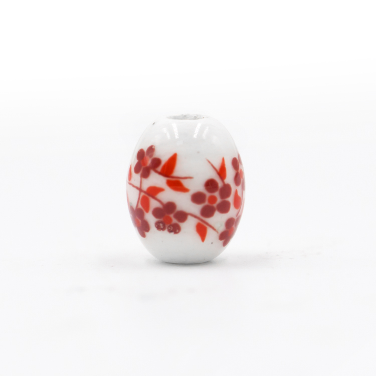 Flower design white porcelain 8*10mm glass crystal beads in a cheap price