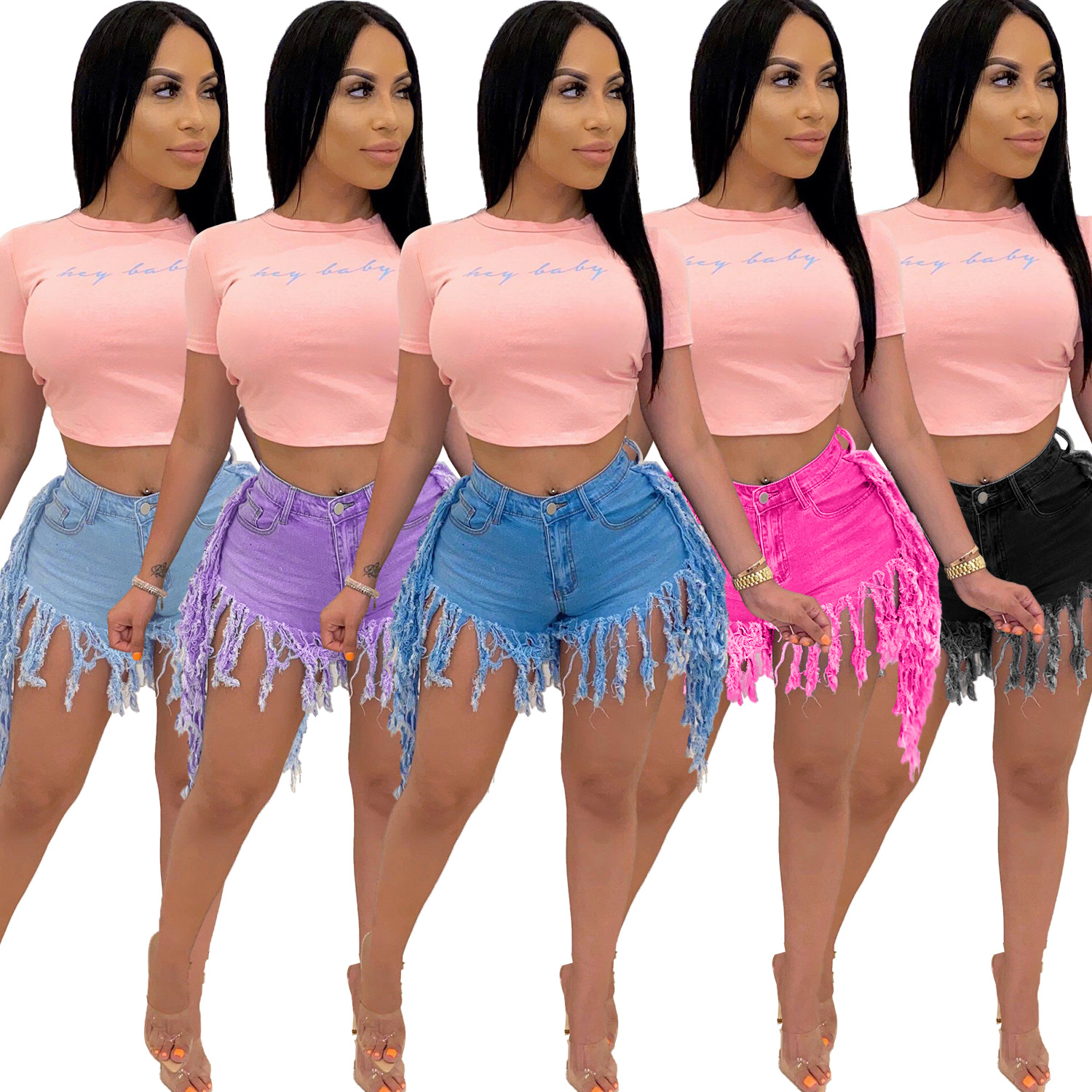 Retro worn jeans women's denim shorts Denim Hot pants