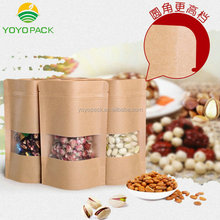 1/2 lbs stand up zipper pouch brown kraft <strong>paper</strong> popcorn bag wholesale With clear window