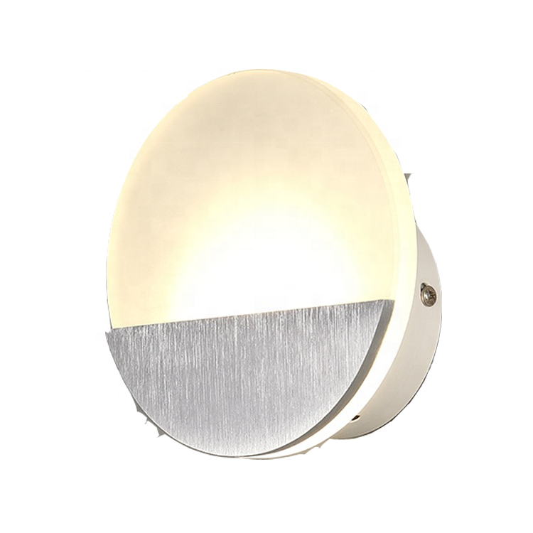 Moon round shaped fancy modern bedroom compound indoor mirror led stair wall <strong>light</strong> fixture