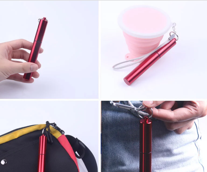 Natural Reusable Silicone Custom  Logo Hot Sale Metal Steel Straight  Straw Drinking
