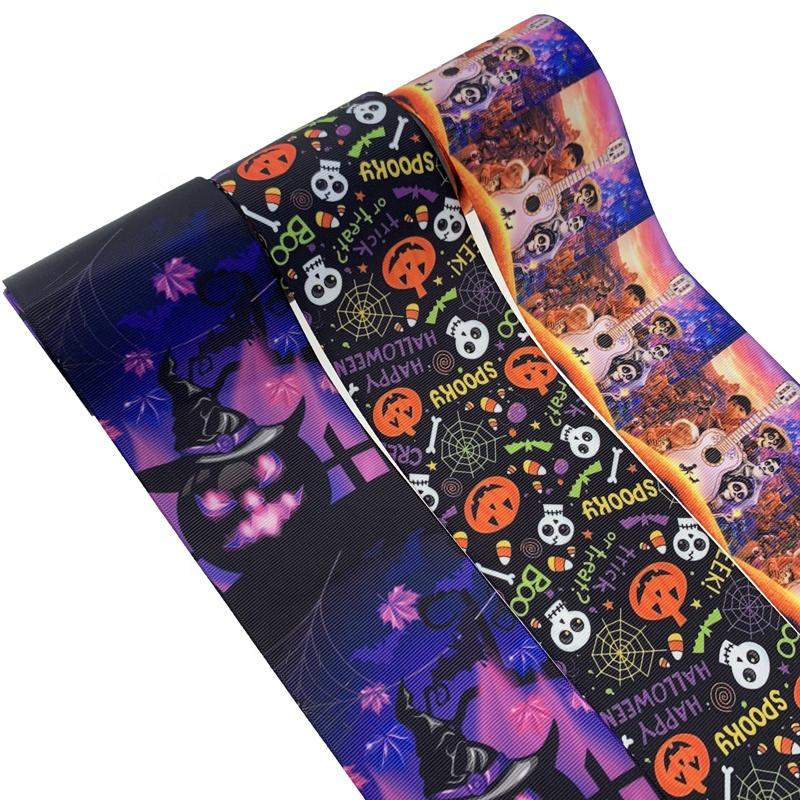 "7//8/"" Spooky Bats Witches Halloween Cartoon Grosgrain Ribbon 22mm"