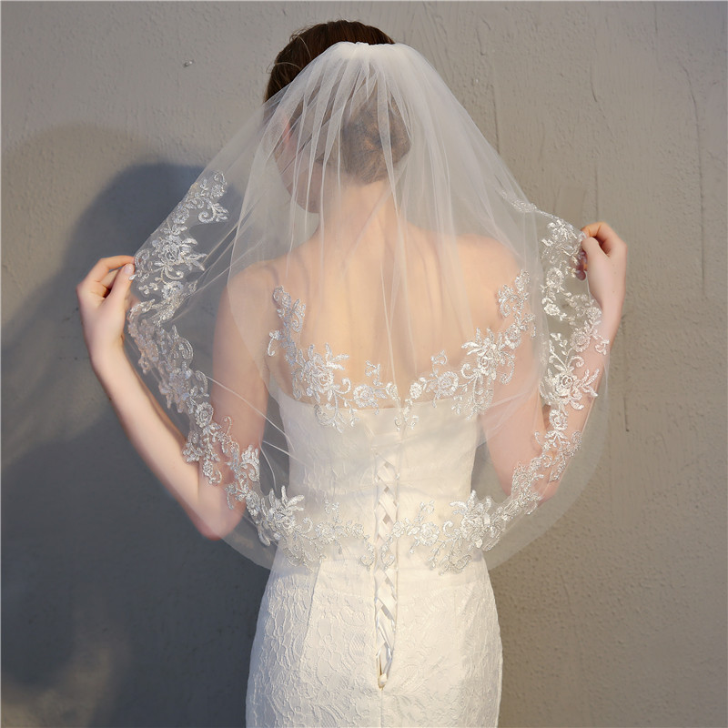 Hot Sell Women Short Tulle Wedding Bridal Veil Lace women Wedding Veil 2020