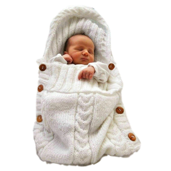 E669 Newborn Winter Knit Hooded Swaddle Sweater Tassel Crochet Handmade Button Knitted Blanket Baby Wool Warm Sleeping Bags