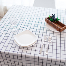 <strong>D</strong>-463 Household Decorative Cover Towel Plaid Cotton Linen Placemat Waterproof Grid Tablecloth