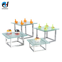 Hotel Catering Equipment Buffet Floor Shape Catering Service Cake Display 4 Tiers Cupcake Dessert Stainless Steel Buffet Stand