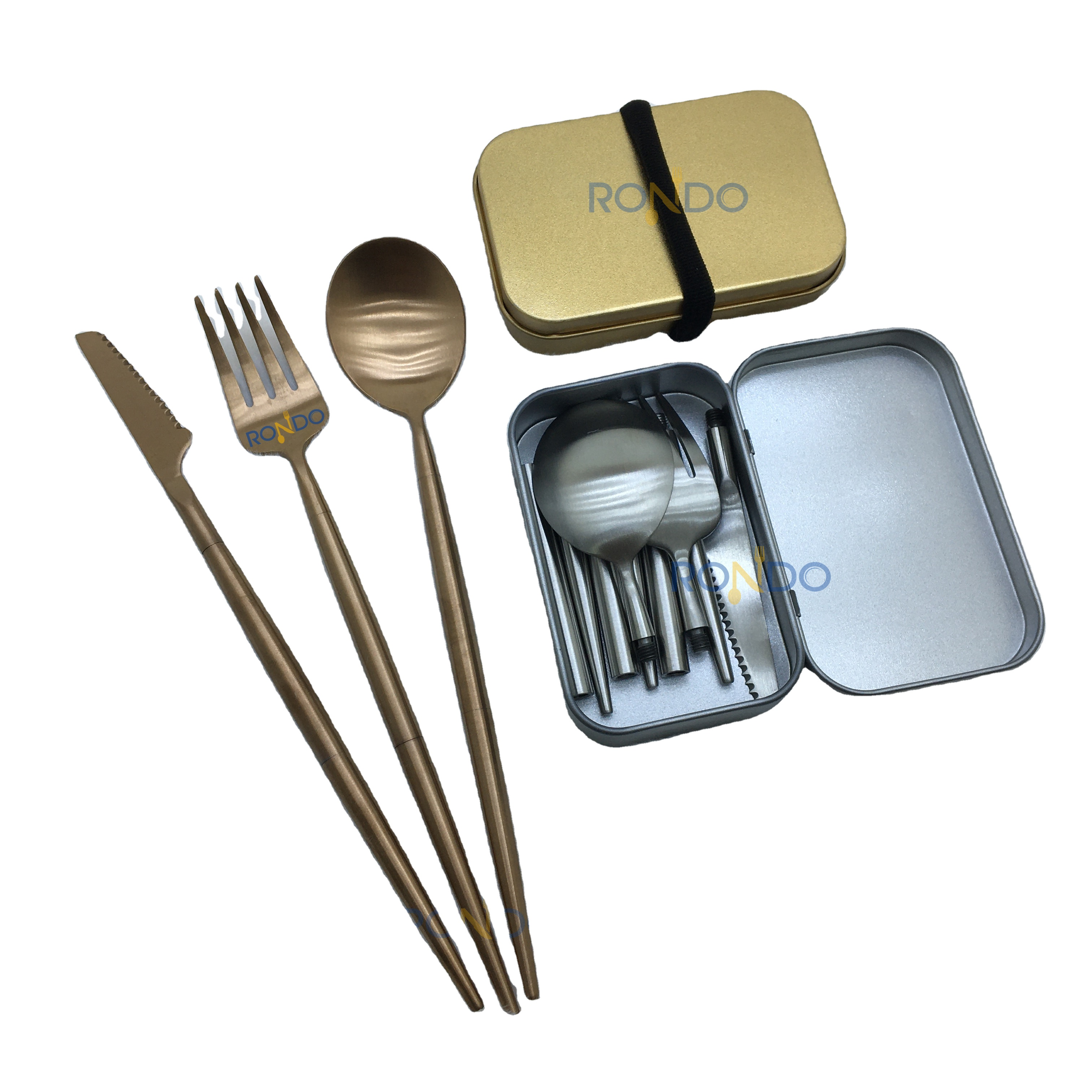 Amazon Top Seller Foldable Stainless Steel spoon fork <strong>set</strong> Flatware rose gold Portable Cutlery <strong>Set</strong>