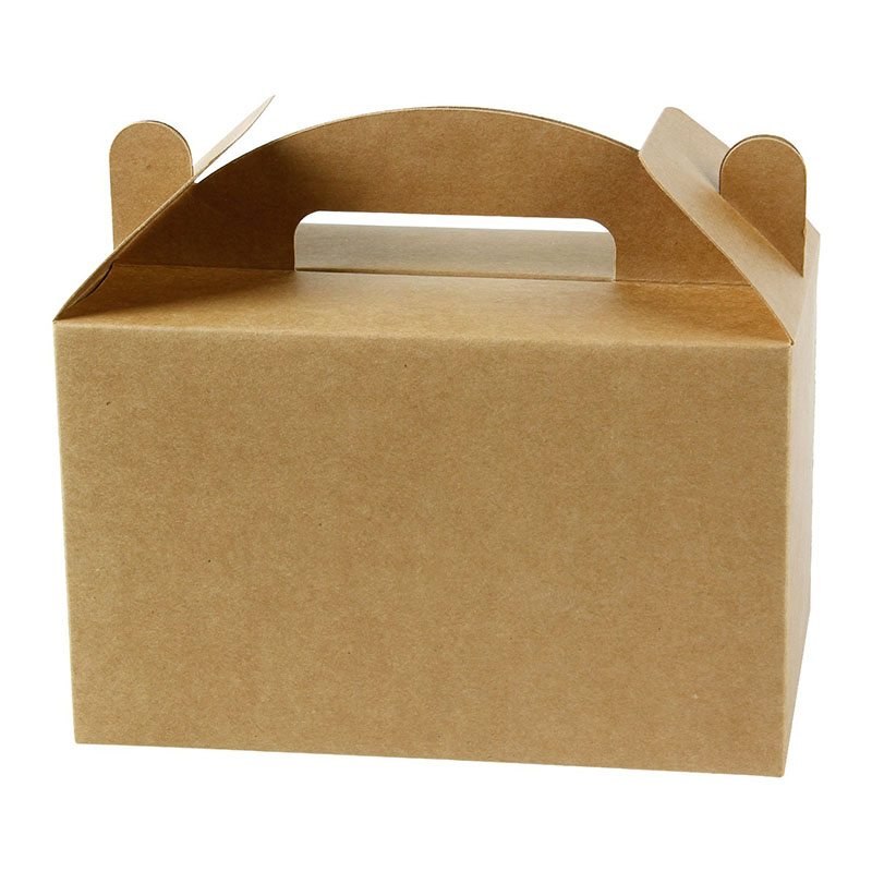 Brown Kraft Paper Gable Gift Boxes Goodies Wedding Favor boxes with handle large