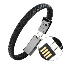 Creative Birthday Christmas Gifts Custom Logo Type <strong>C</strong> USB Data Cable <strong>Mobile</strong> Phone Leather Charger Bracelet