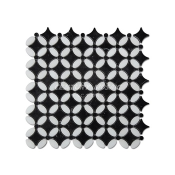 Premium Polished Thassos White Mixed Nero Marquina  Mumflower Mosaic Tile For Home Decoration