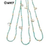 WT-N1181 Classic Fashion Pearl With 3mm Amazonite Faceted Beads Necklace Women High Quality Natural Amazonite Beads Necklace
