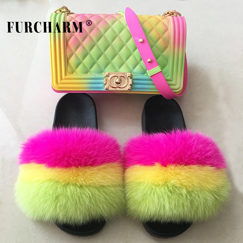 Factory Wholesale Women Bedroom Slides Wool Furry Flat Leather soft fox Fur slippers