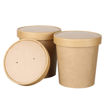 disposable food <strong>container</strong> waterproof and grease proof brown kraft paper soup bowl with paper lid