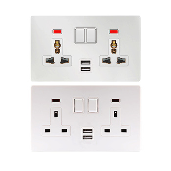 Universe 220V 2 USB Port 3 Pin Plug 13A Electrical Plugs Panel Universal Multi Wall Socket With USB