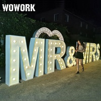 WOWORK 3D 4ft open air metal frame waterproof large light up LOVE letters for wedding event backdrop