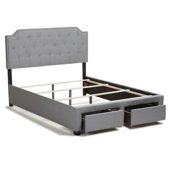 Modern Furniture Grey Fabric King Size Storage Bed With Nail head Trim