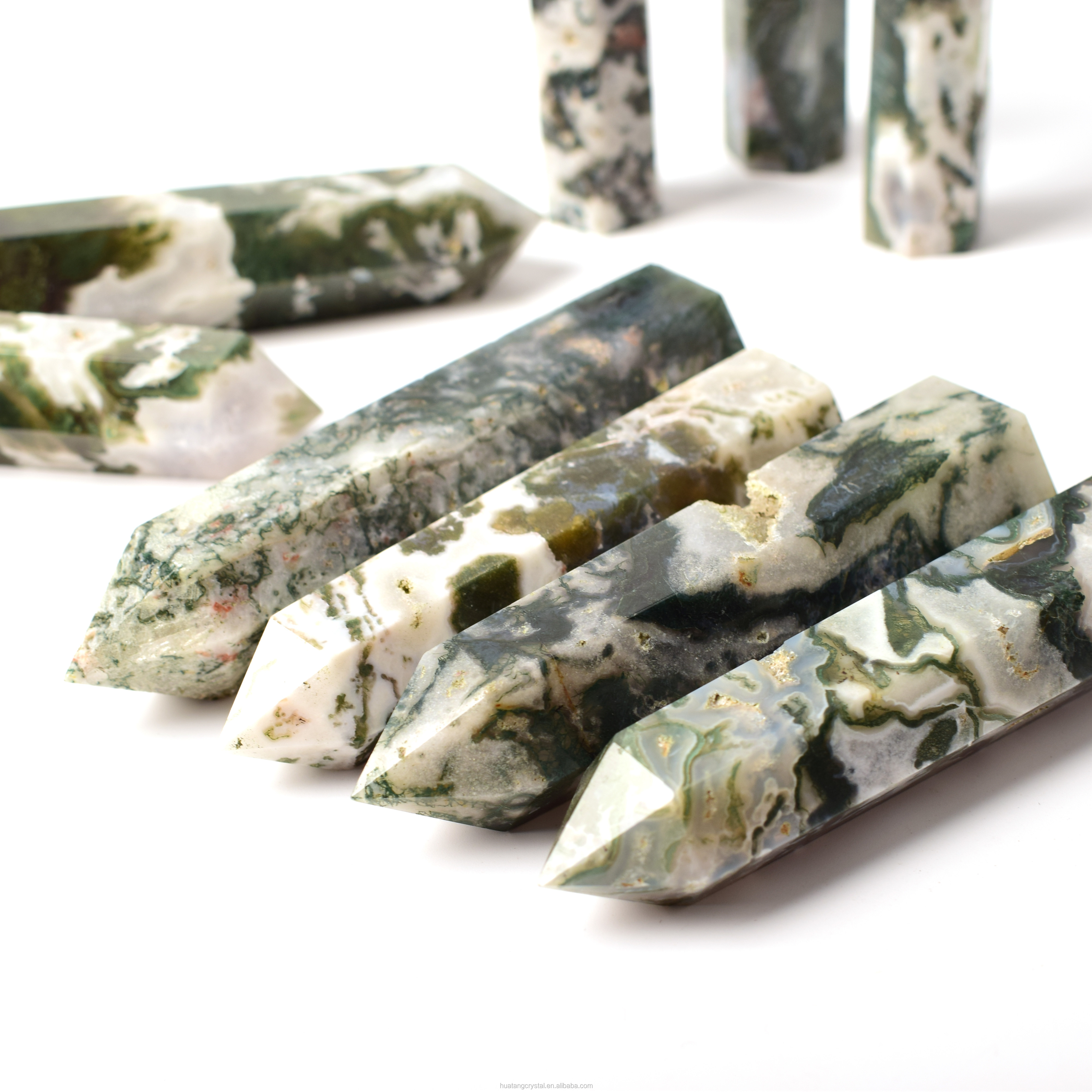 Wholesale Natural Agate Polishing Moss Agate <strong>Points</strong> For Healing