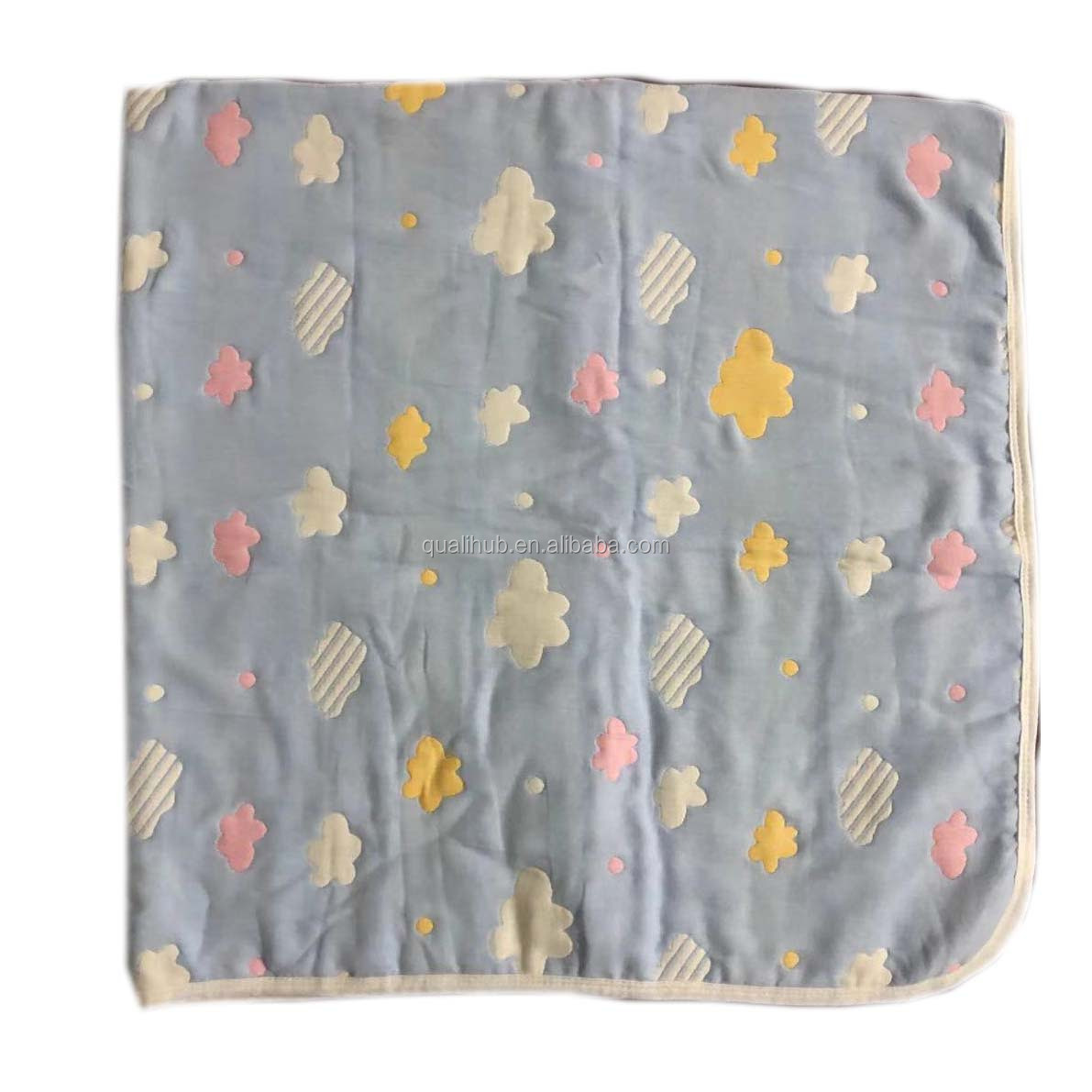 100%cotton Jacquard 6 layer muslin baby swaddle blanket